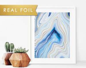 Abstract Blue Agate Foil Art Print