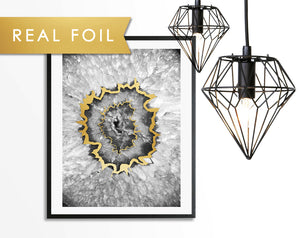 Agate Black Eye Foil Art Print