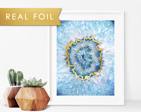 Agate Blue Eye Foil Art Print
