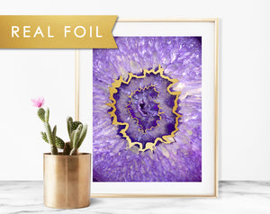 Agate Purple Eye Foil Art Print
