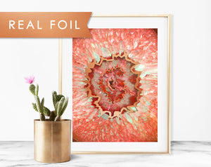 Agate Eye Red Real Foil Art Print