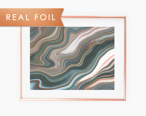Abstract Earthy Ink Copper Foil Wall Print