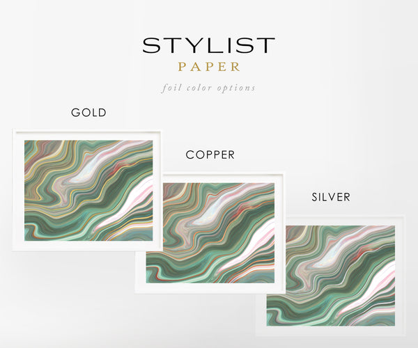 Abstract Ink Emerald Blush Copper Foil Wall Print