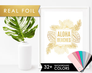 Aloha Beaches Real Gold Foil Wall Art