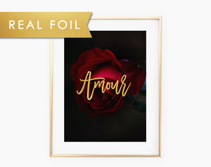 Armour Red Rose Foil Art Print
