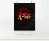Amour Red Rose - Real Gold Foil on Black Art Print