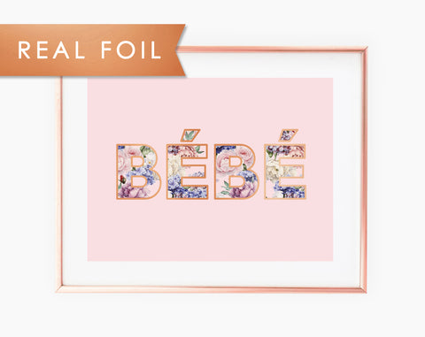 Bébé Pink Floral Type with Copper Foil Wall Art