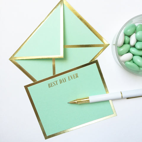 Best Day Ever Mint Green Card & Envelope