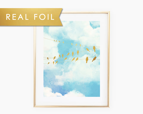 Birds on a Wire Foil Art Print