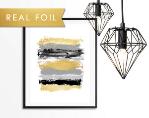 Black and Gray Paint Stripes Gold Foil Art Print