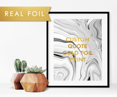 Print Your Own Text in Gold Foil with Black and White Marble Swirl Background
