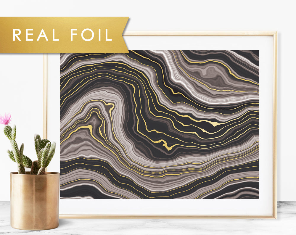 Black Agate Waves Foil Art Print