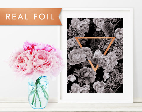 Black Floral Triangle Foil Art Print