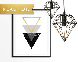 Black Marble Triangle Art Print