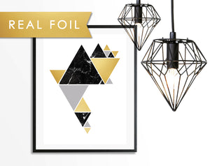 Black Marble Triangle Party Foil Art Print