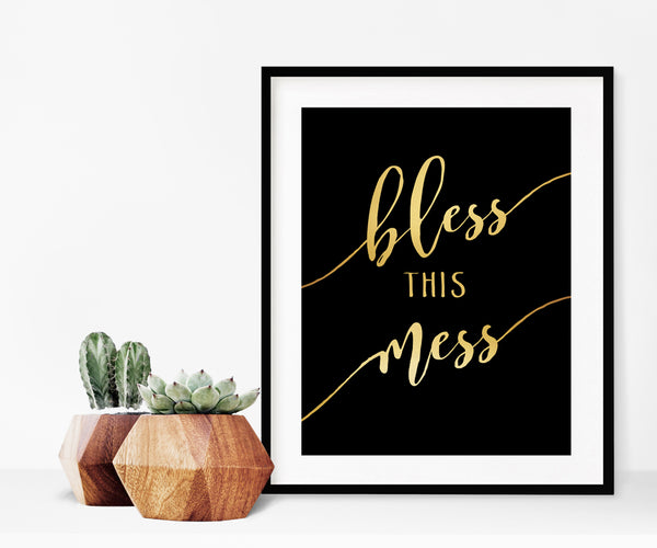 Bless this Mess Real Gold Foil Wall Art