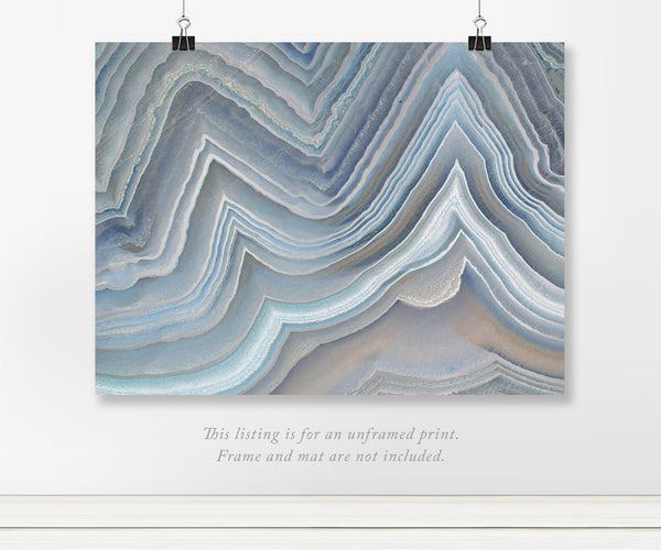 Blue Agate Formation Foil Art Print