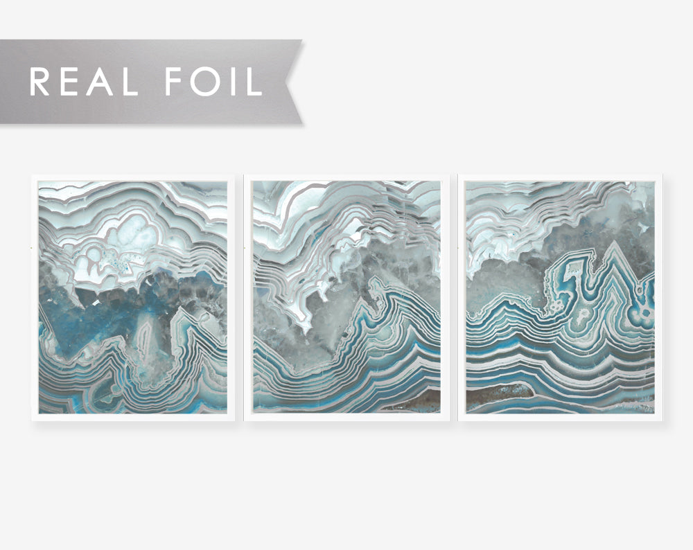 Set of 3 Panels Blue Agate Slab- Art Print with Silver Foil Geode Art 3 Panels