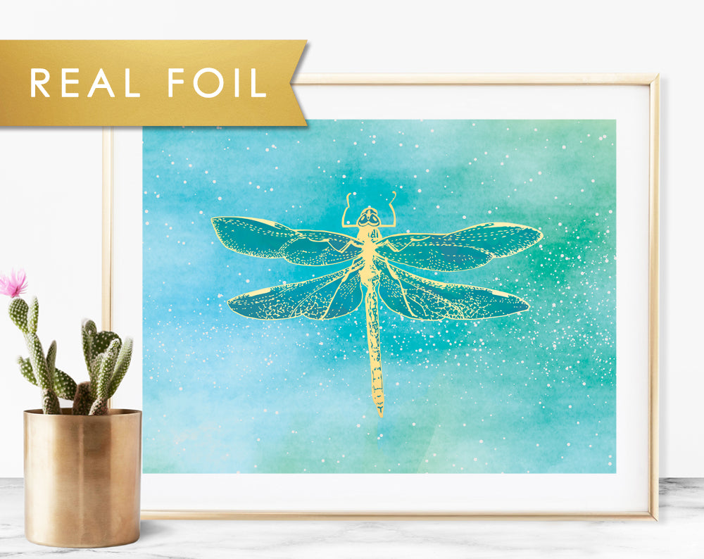 Blue Green Dragonfly Foil Art Print