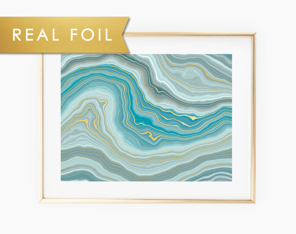 Teal Blue Green Agate Waves Real Foil Art Print