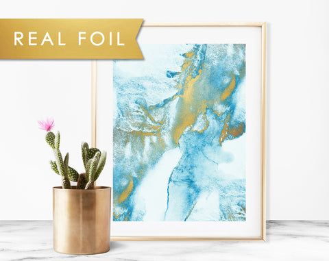 Blue Mist Gold Foil Art Print