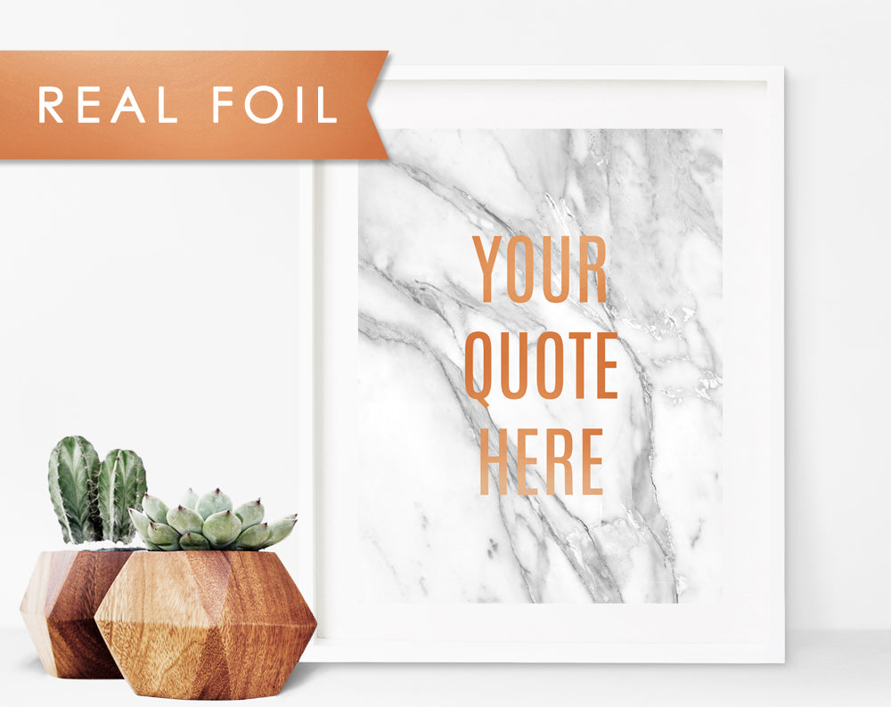 Custom Quote in Bold Font on Gray Marble