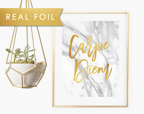 Carpe Diem on Gray Marble Real Gold Foil Art Print 11x14, 8x10, 5x7