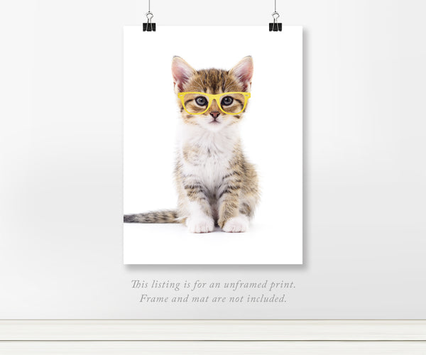 Cat in Glasses Real Foil Art Print