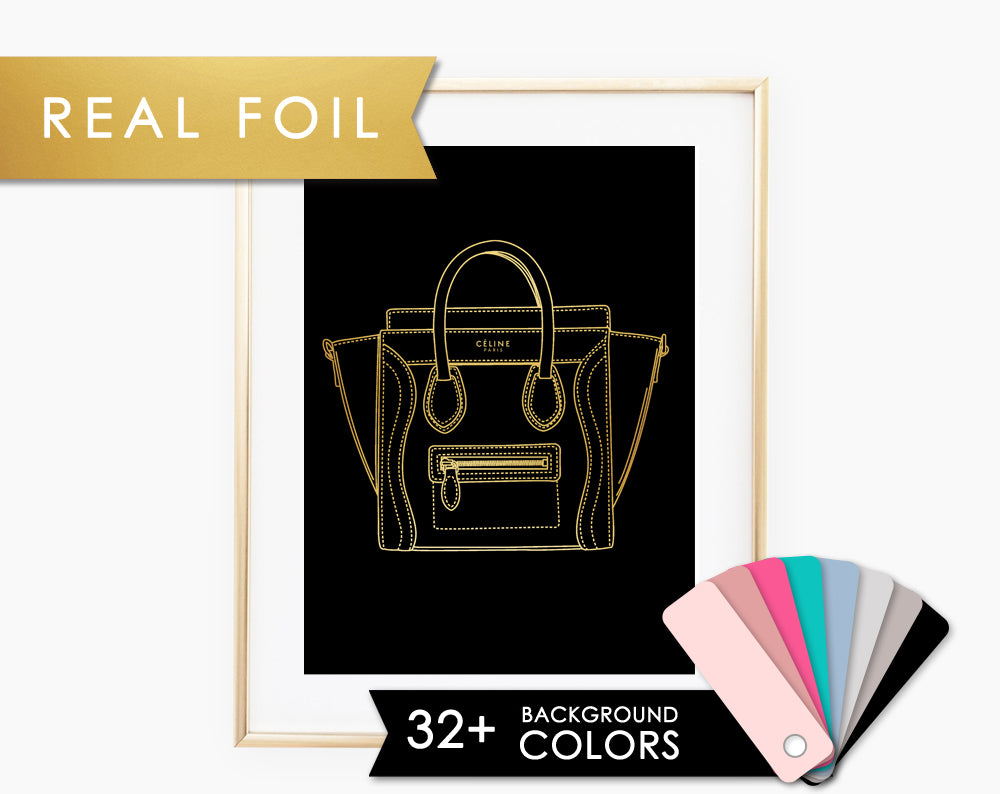 Celine Bag on Black with Real Gold Foil Art Print