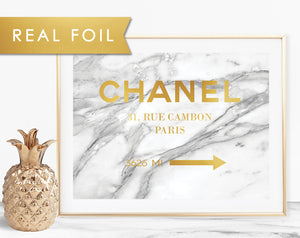 Chanel Arrow on Marble Background with Real Gold Foil Art Print 8x10, A3, A4, A5