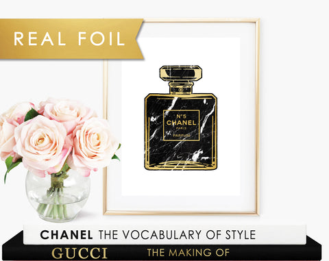 Chanel No 5 Black Marble Real Foil Art Print