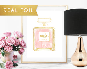Chanel No 5 Blush Pink Bottle Real Foil Art Print