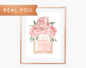 Chanel No 5 Bottle Blush Pink Peonies Real Foil Art Print