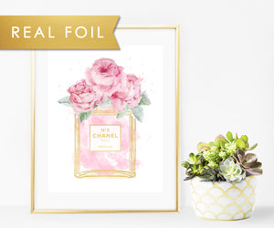 Chanel No 5 Bottle Pink Roses Watercolor Real Foil Art Print 11x14, 8x10, 5x7