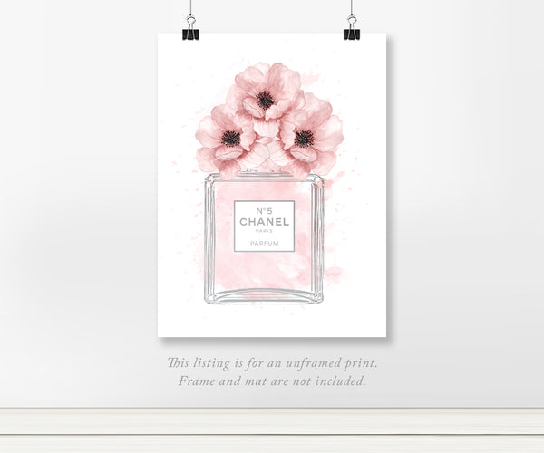 Chanel No 5 Bottle Pink Poppies Real Silver Foil Art Print 11x14, 8x10, 5x7