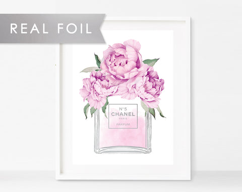 Chanel No 5 Bottle Purple Peonies Real Silver Foil Art Print 11x14, 8x10, 5x7 Chanel Print