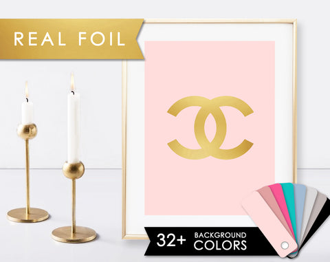 CC Logo on Solid Background with Real Gold Foil Details Chanel Print