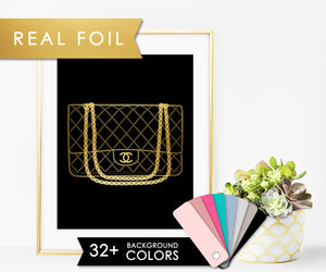 Chanel Classic Flap on Solid Black with Real Gold Foil Art Print
