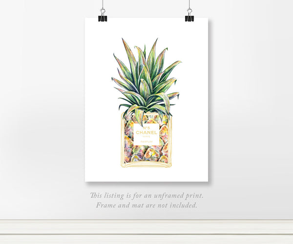 Chanel No. 5 Perfume Bottle with Pineapple Watercolor Print