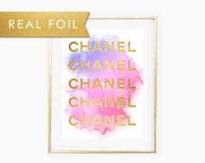 Chanel with Pink and Purple Watercolor on Crisp White Background with Real Gold Foil Art Print 8x10, A3, A4, A5 Chanel Art