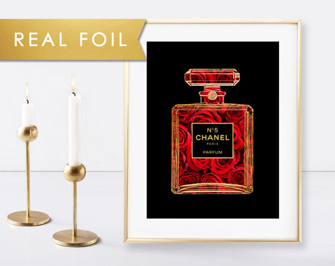 Chanel No 5 Red Roses with Gold Foil Art Print 11x14, 8x10, 5x7