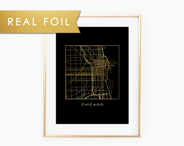 Line Map of Chicago Foil Art Print