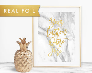 Your Own Quote in Brush Script Gold Foil on Gray Marble Background