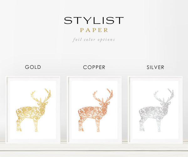 Deer Lace in Gold Foil Art Print