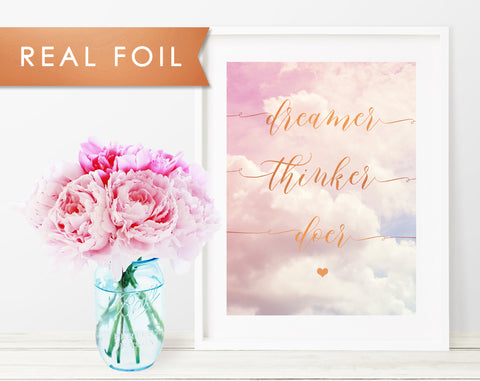 Dreamer Thinker Doer Nursery Pink Cloud Real Foil Art Print