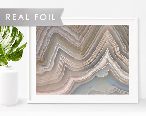 Earthy Tone Agate Formation Real Foil Art Print