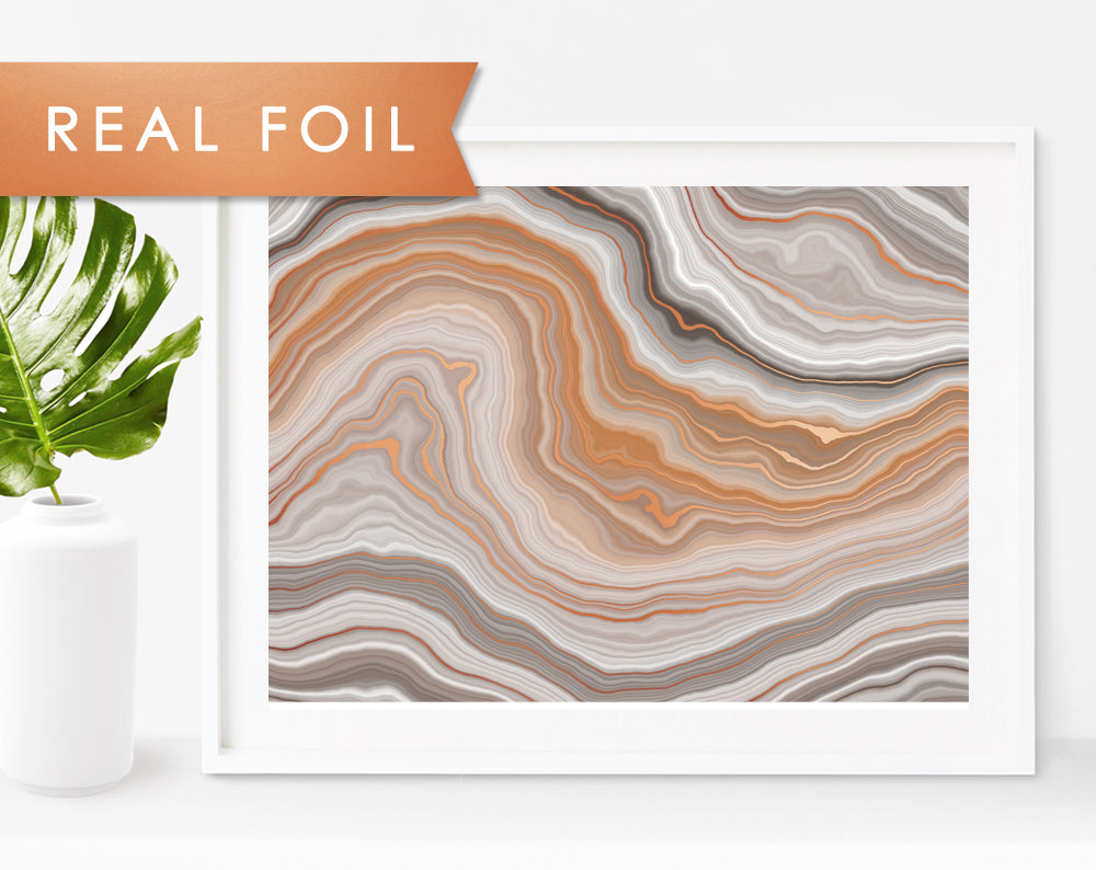 Earthy Agate Waves Copper Foil Art Print