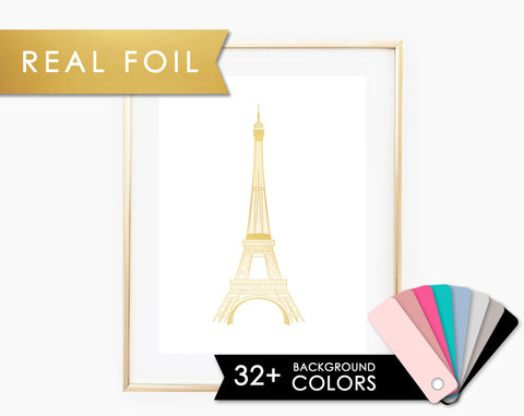 Eiffel Tower Foil Print on Any Color Background