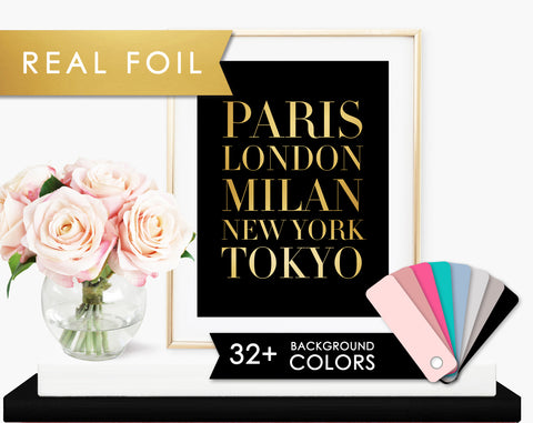 Fashion Cities on Black with Real Gold Foil Art Print