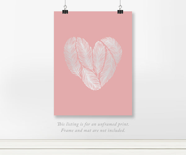 Heart Feathers with real Silver Foil Wall Art